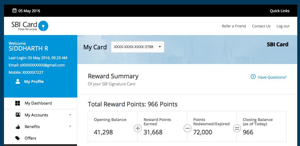 SBI Signature Card reward points