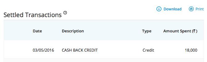 SBI cashback credit