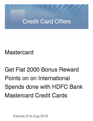 International Spends with HDFC Mastercard