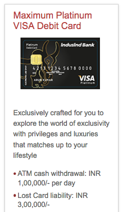 Indusind Maximum Platinum VISA Debit Card