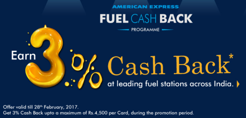 American Express cashback on fuel