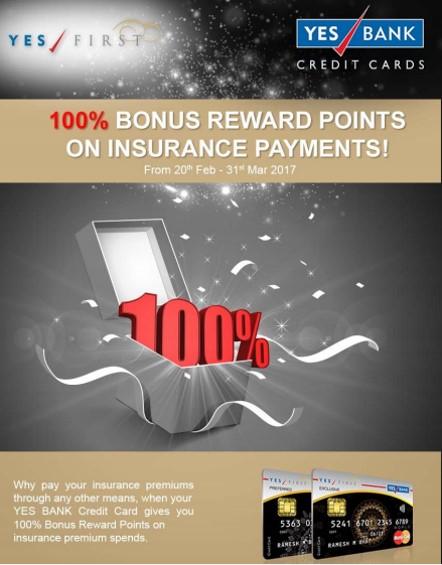 Earn Upto 10,000 Bonus Reward Points on Yes First Credit