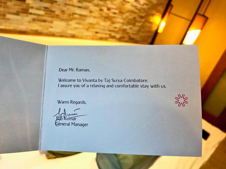 Hotel Review Vivanta By Taj Surya Coimbatore Cardexpert