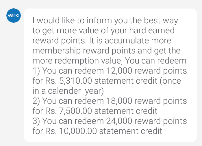 Now Redeem 12,000 Amex MR Points for Rs.5310 Statement ...