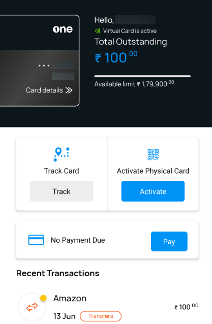 onecard app visual