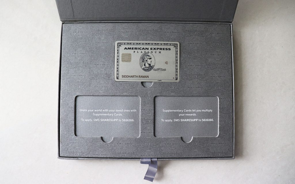 amex platinum inside box - card and supp card slots