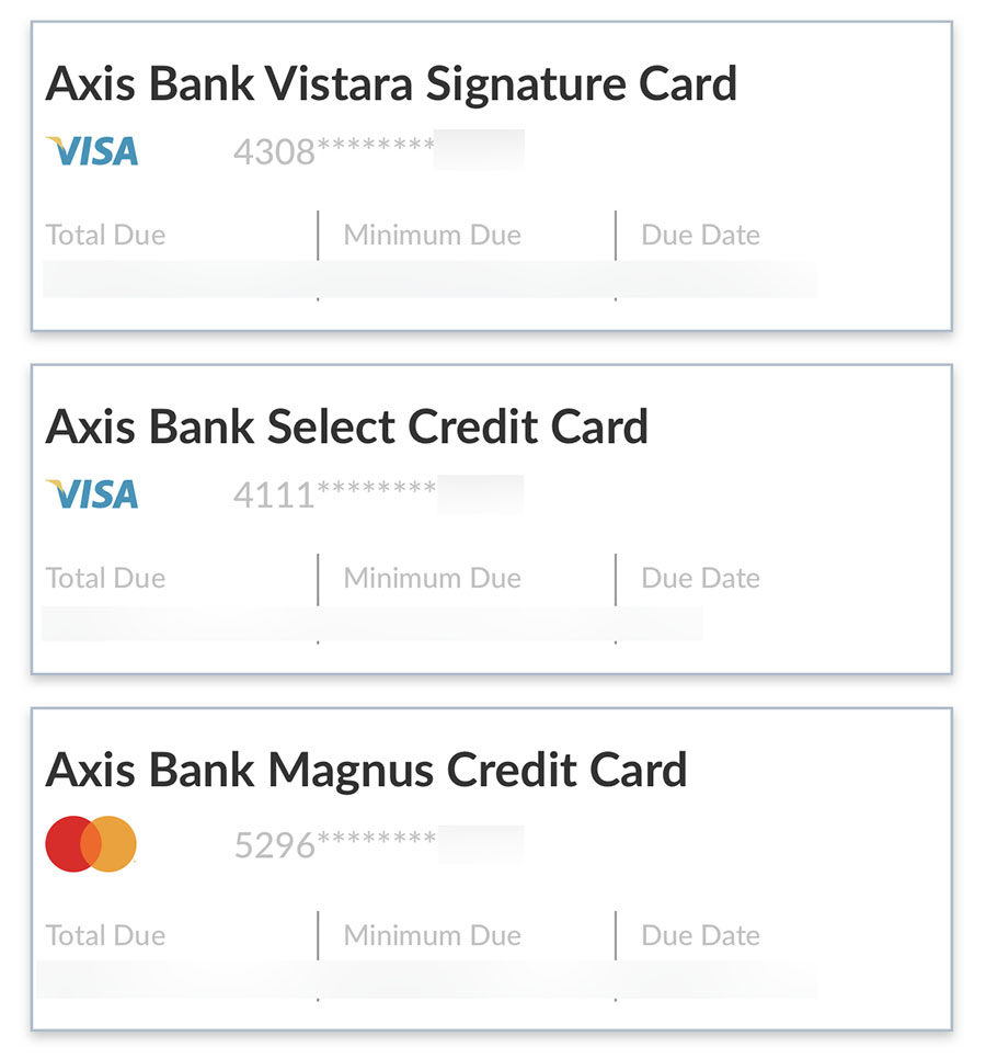 Axis bank credit cards on app
