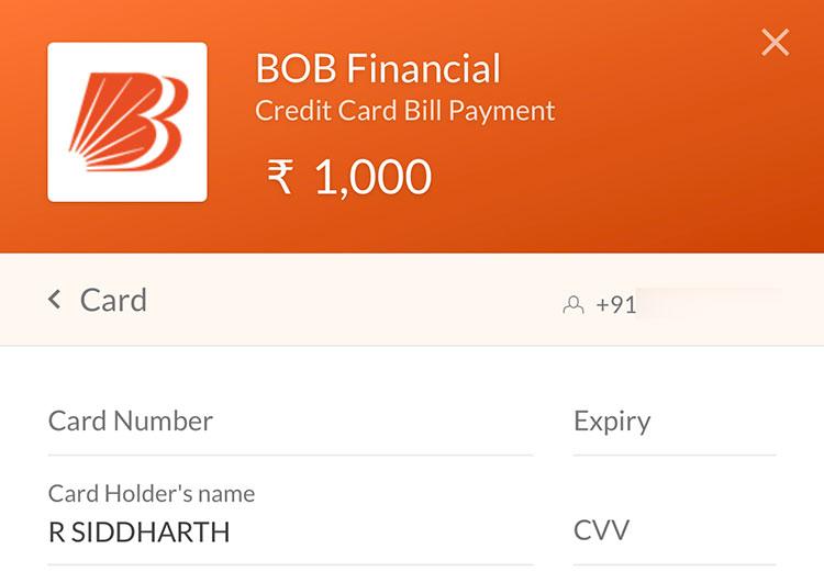 BOBCards bill payments