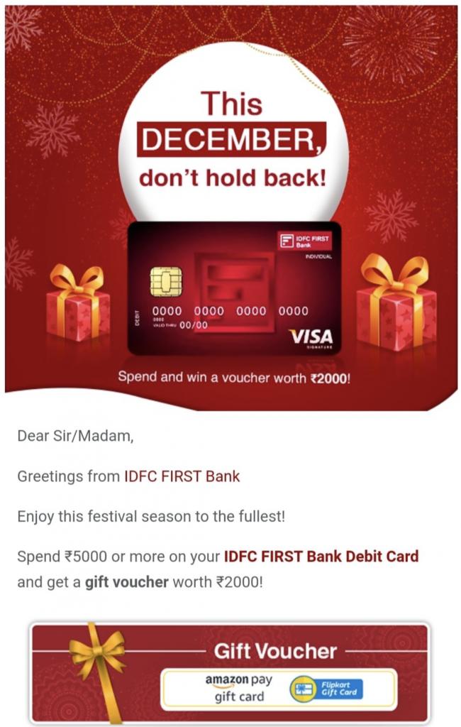 IDFC Debit card offer