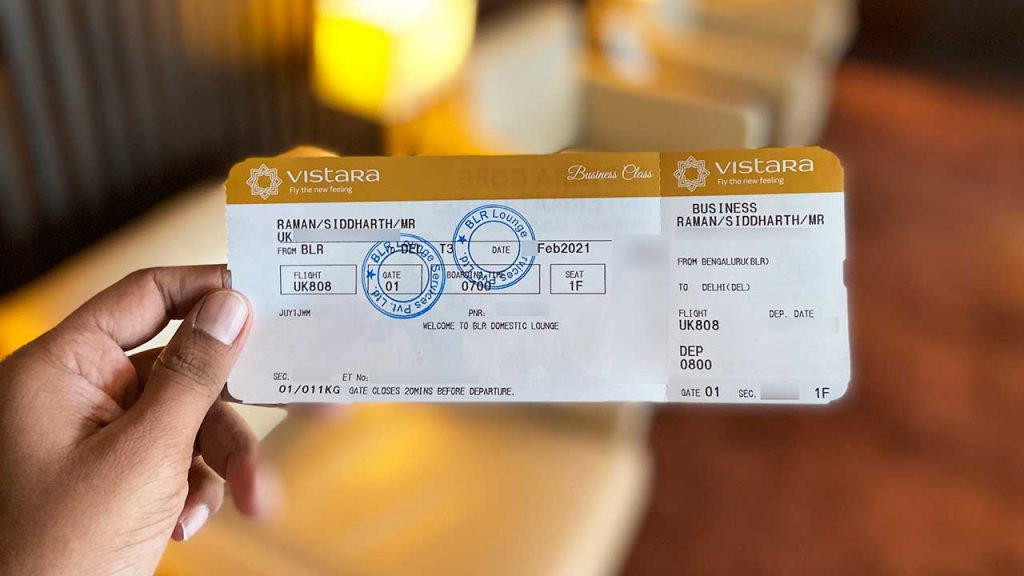 Vistara Business Class Ticket