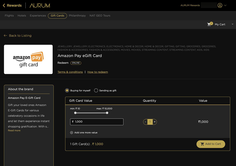 SBICARD AURUM - Amazon Voucher