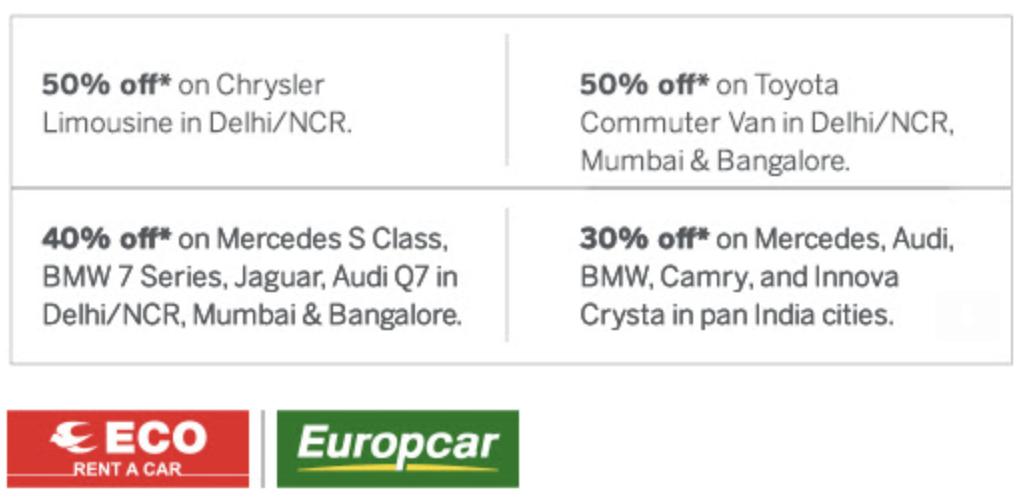 Amex Offer - Rent a car offer details