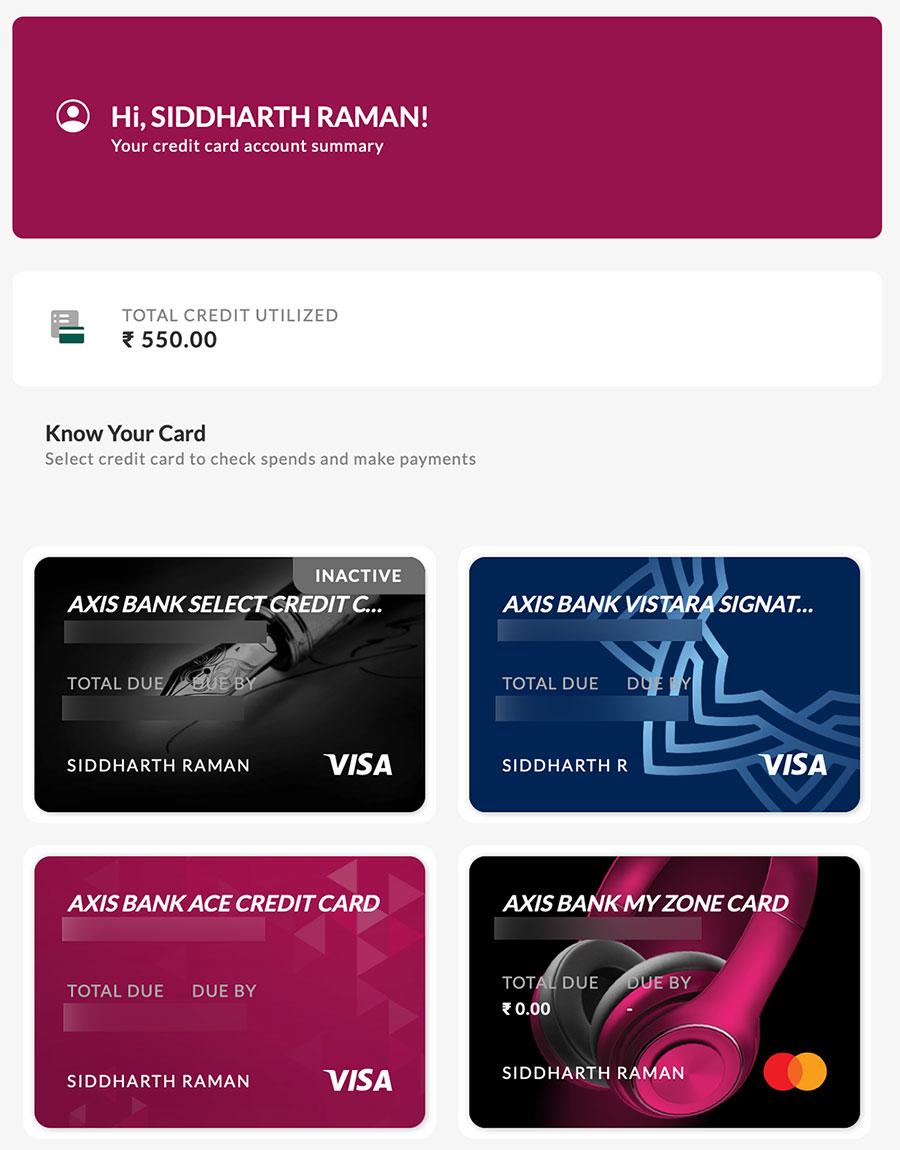 Axis Bank Credit Card new tiles design