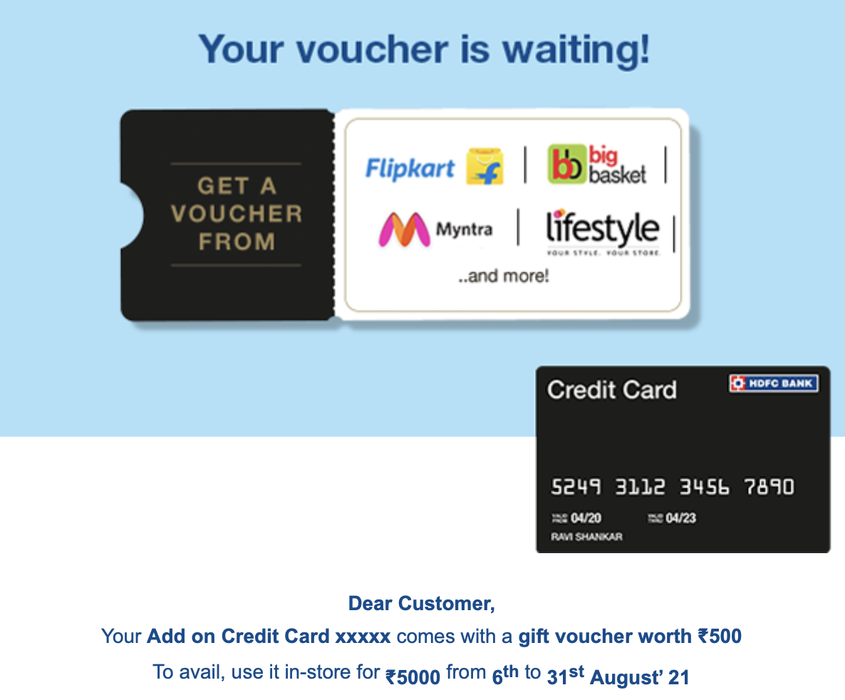 HDFC add on offer - Aug 2021