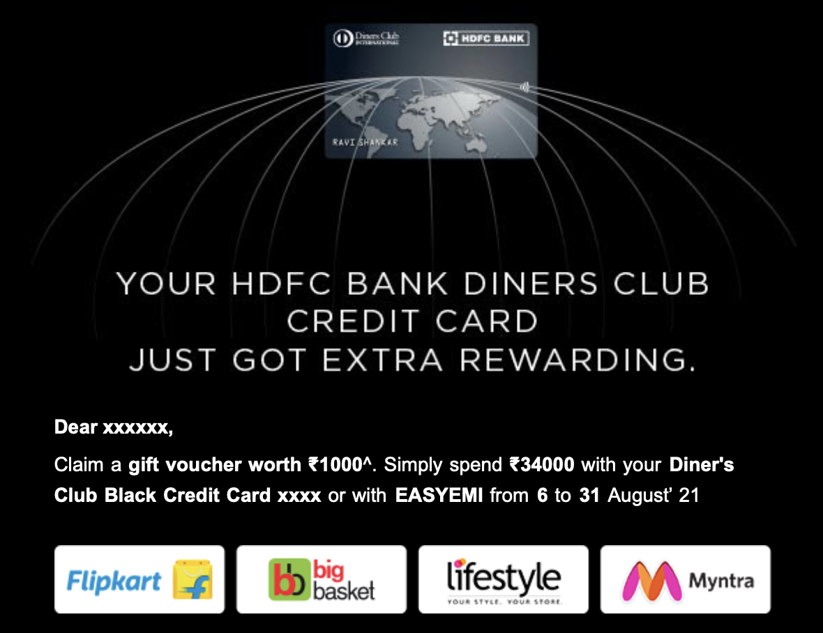 HDFC Spend Offer - Aug 2021