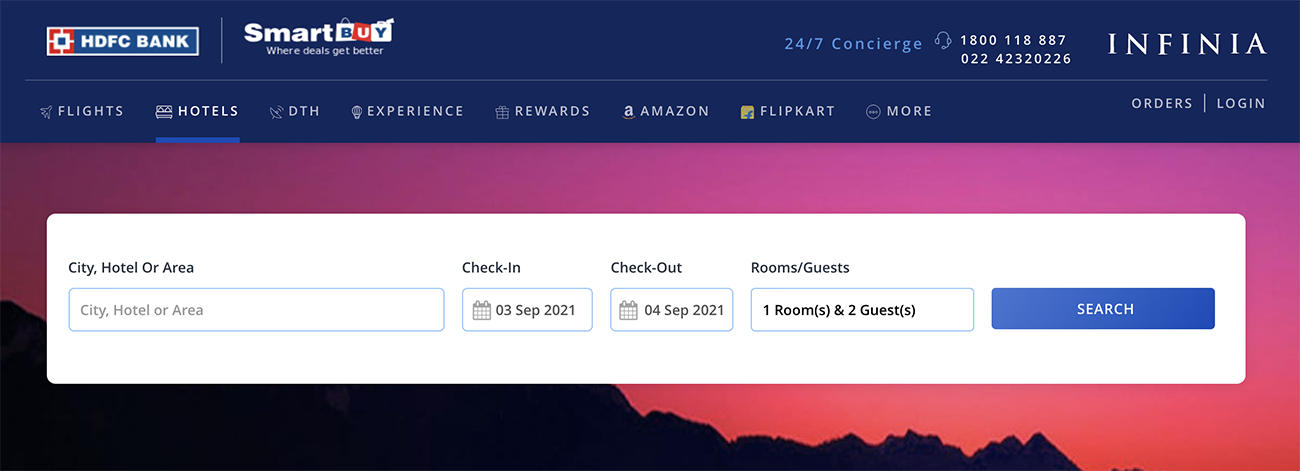 Redeem HDFC Rewards for flights and Hotels